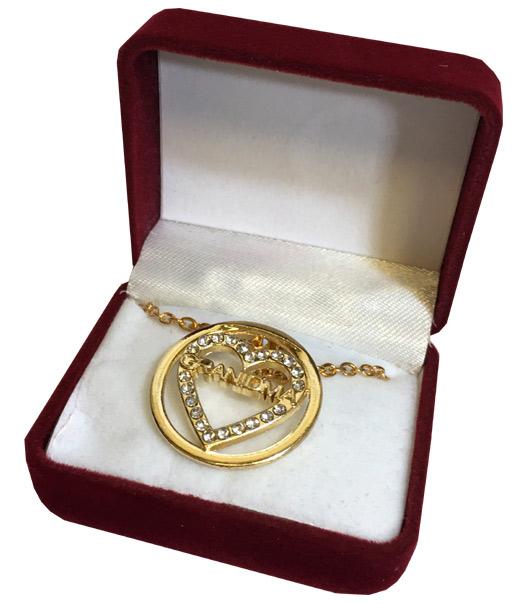 Grandma Crystal Gold Heart Necklace in Maroon Box - Grandma Gifts - School Shop Smart