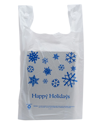 50 Pack - Happy Holidays T-Shirt Shopping Bags - School Holiday Shop Gift Bags - School Shop Smart