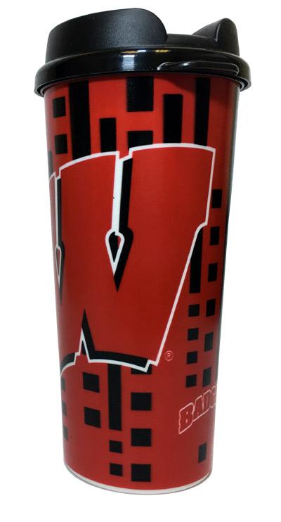 Wisconsin Badgers 16 Oz. Travel Mug - Sports Team Logo Gifts - School Shop Smart