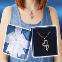 Infinity Heart Necklace in Blue Box