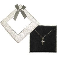 Silver Gem Cross Necklace Window Box