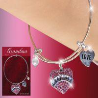 Grandma Glitter Heart Charm Bracelet - Grandma Gifts - School Shop Smart