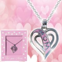 Mom Pink Heart Necklace - Gifts for Moms - School Shop Smart
