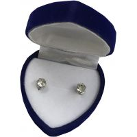 Diamond Earrings in Velvet Heart Box - Jewelry Gifts - School Shop Smart